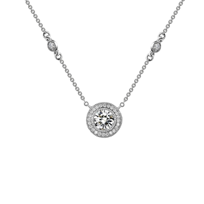 Lafonn Circular Pendant Necklace with Round Side Accents