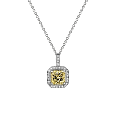 Lafonn Radiant Cut Simulated Canary Diamond Pendant Necklace