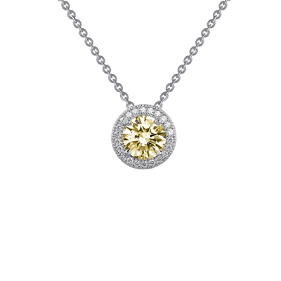 Lafonn Round Cut 1.25CTW Simulated Canary Diamond Pendant Necklace