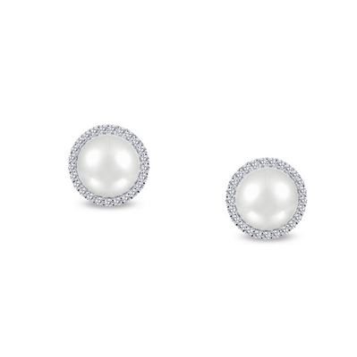 Lafonn Round Sterling Silver Fresh Water Pearl & CZ Earrings