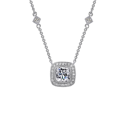 Lafonn 2.32CTW Sterling Silver Simulated Diamond Necklace with Side Accents