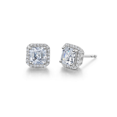 Lafonn Sterling Silver 2.92CT Asscher Cut Stud Earrings