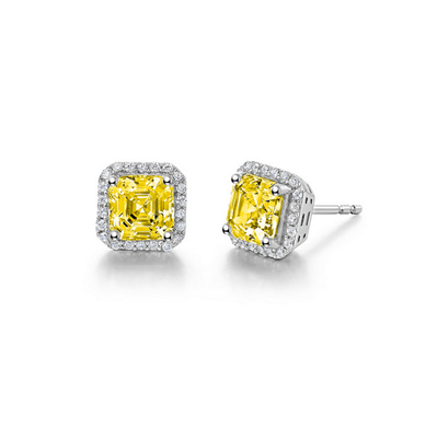 Lafonn Sterling Silver 2.92TW Asscher Cut Yellow Stud Earrings