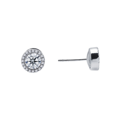 Lafonn Sterling Silver .80CTW CZ Halo Stud Earrings