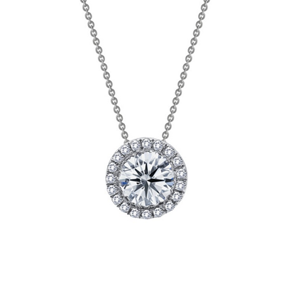 Lafonn Sterling Silver Halo Cut Simulated Diamond Pendant Necklace