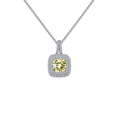 Lafonn Sterling Silver Simulated Canary Diamond Pendant Necklace