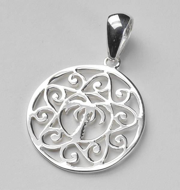 Southern Gates Large Palmetto Tree and Scroll Pendant
