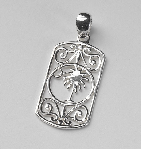 Southern Gates Rectangle Palmetto Tree and Moon Pendant