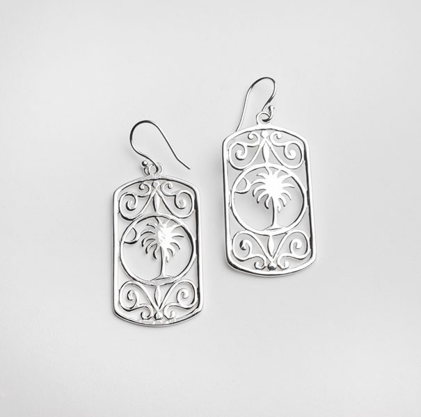 Southern Gates Rectangular Palmetto Tree Scroll Earrings