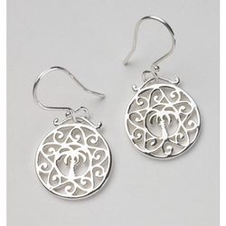 Southern Gates Round Palmetto Tree and Scroll Earrings