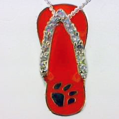 Sterling Silver Orange Tiger Paw Flip Flop Pendant