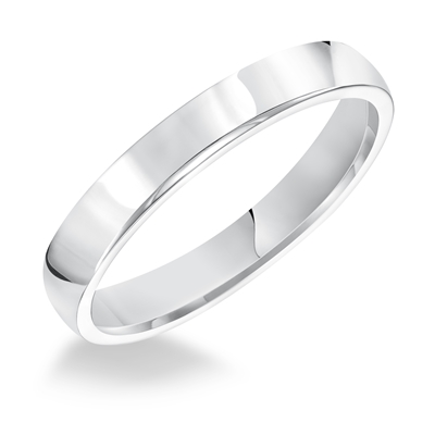 Ladies 3MM Comfort Fit 14K White Gold Wedding Band