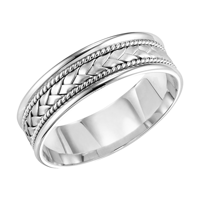 14K White Gold 7MM Wedding Band