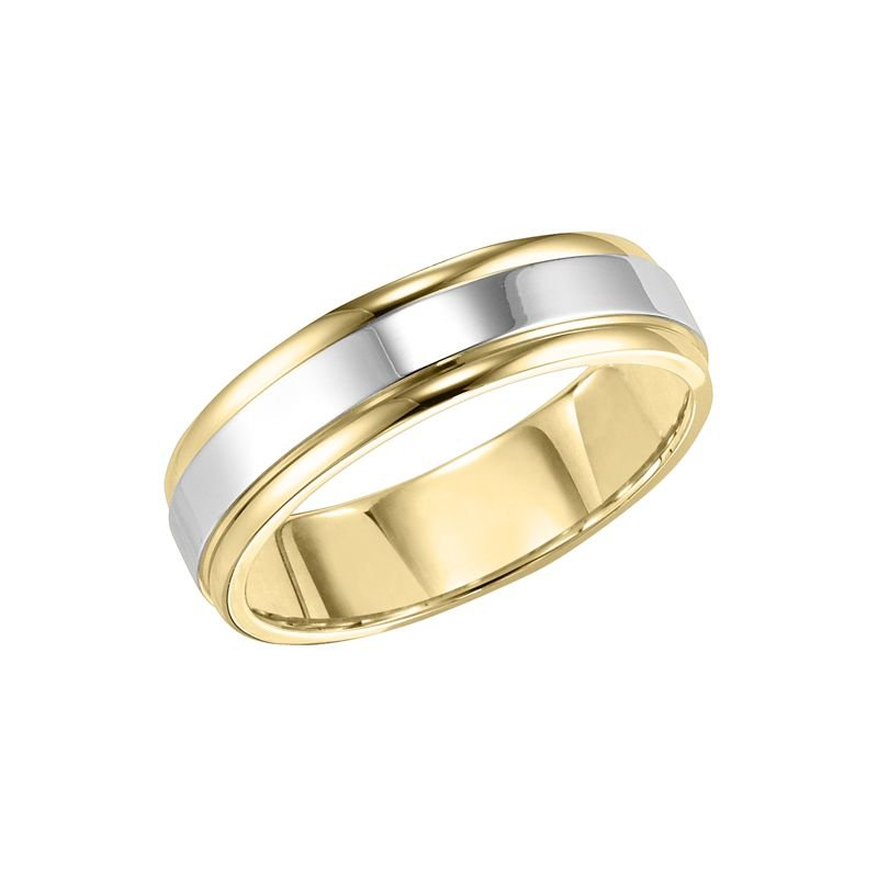 6MM Mens Two Tone Comfort Fit Wedding Band