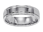14K White Gold 6MM Comfort Fit Carved Wedding Band
