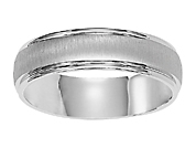 14K White Gold Mens 6.5MM Wedding Band