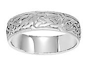 14K White Gold Carved Wedding Band