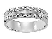 14K White Gold 4MM Comfort Fit Carved Wedding Band