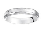 14K White Gold Ladies Carved Comfort Fit Wedding Band