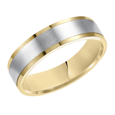 14K Two-Tone Ladies Carved Wedding Band