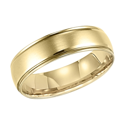 14K Yellow Gold 6MM Carved Wedding Band