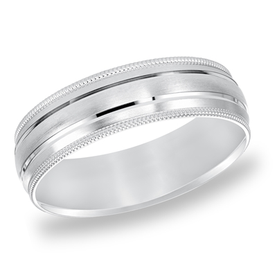 Mens 14K White Gold Engraved Wedding Band