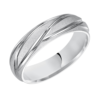 14KW 6MM Comfort Fit Carved Wedding Band