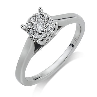 14K White Gold .255CTW Diamond Engagement Ring