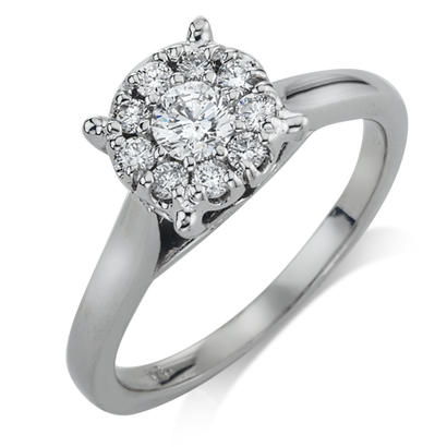 14K White Gold 1/2CTW Diamond Engagement Ring