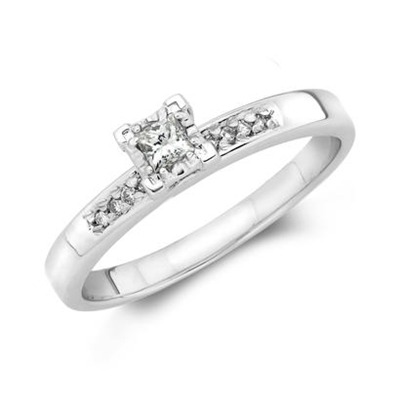 10K White Gold .10Ct Princess Cut Engagement Ring
