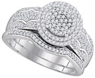 1/2ctw 10K White Gold Diamond Wedding Set