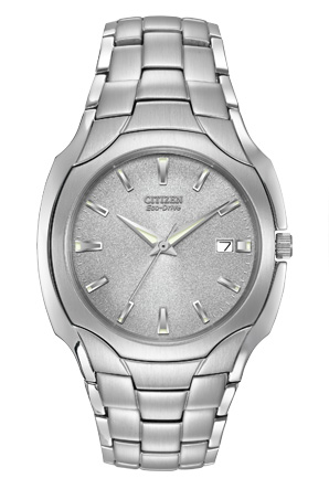 Citizen Eco-Drive Stainless Steel Mens Bracelet Watch with Gray Dial