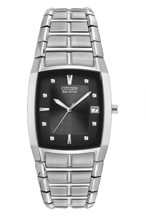 Citizen Eco-Drive Stainless Steel Mens Tonneau Shaped Watch