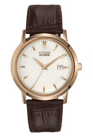 Citizen Eco-Drive Mens Brown Strap Watch