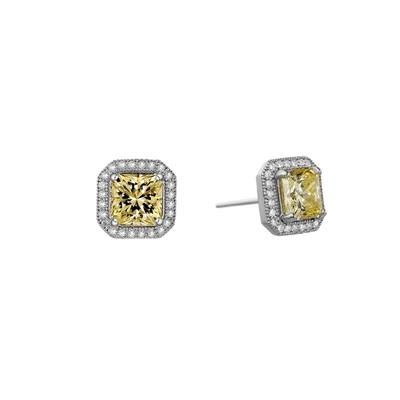 Lafonn Radiant Cut Simulated Canary Diamond Stud Earrings
