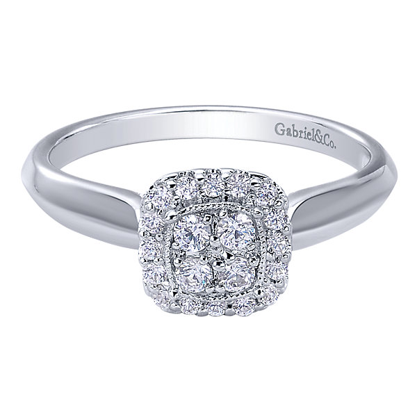 1/4CTW 14 Karat White Gold Diamond Halo Engagement Ring