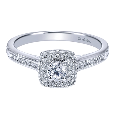 3/8CTW 14k White Gold Diamond Halo Engagement Ring