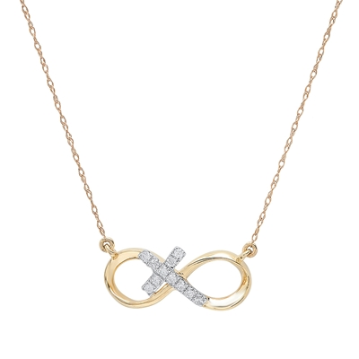 Infinity cross pendant