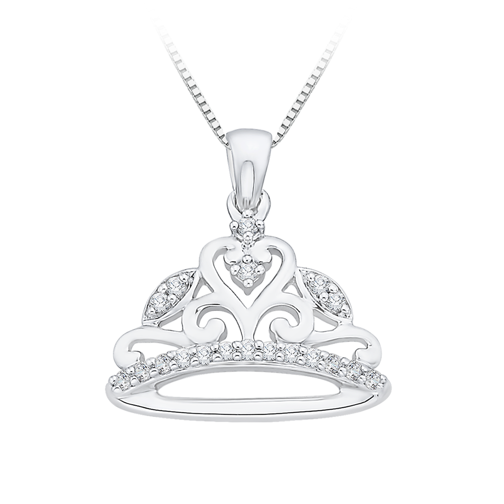 10K White Gold .10 ct. Crown Diamond Pendant