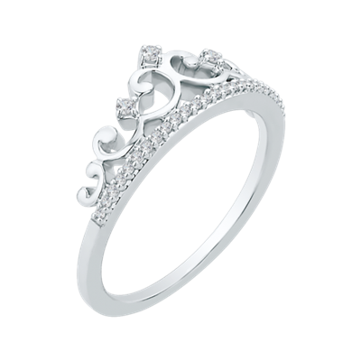 10K White Gold .10 ct. Diamond Crown Ring