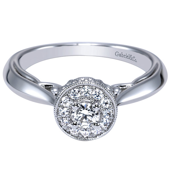1/4CTW 14K White Gold Halo Engagement Ring